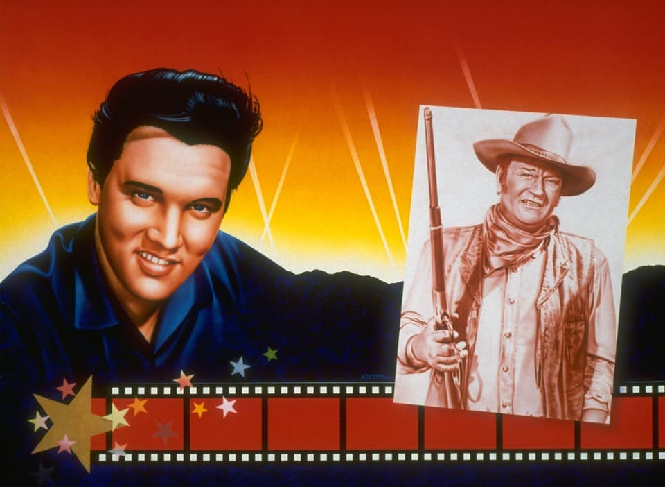 ELVIS and JOHN WAYNE wall mural by A.D. Cook fro Hollywood Video