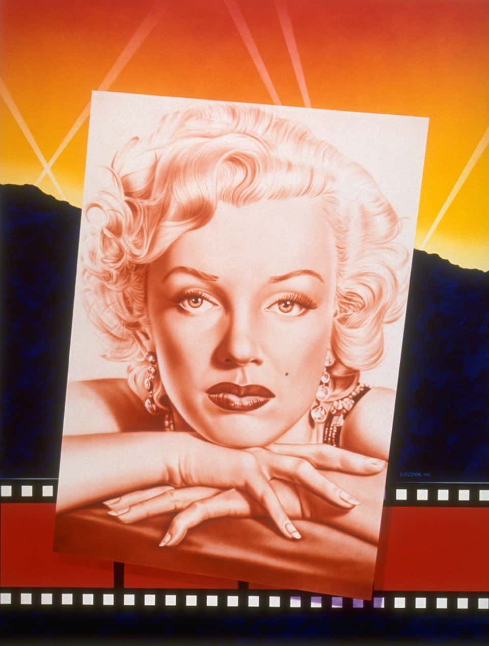 MARILYN MONROE postcards from the past wall mural by A.D. Cook for Hollywood Video