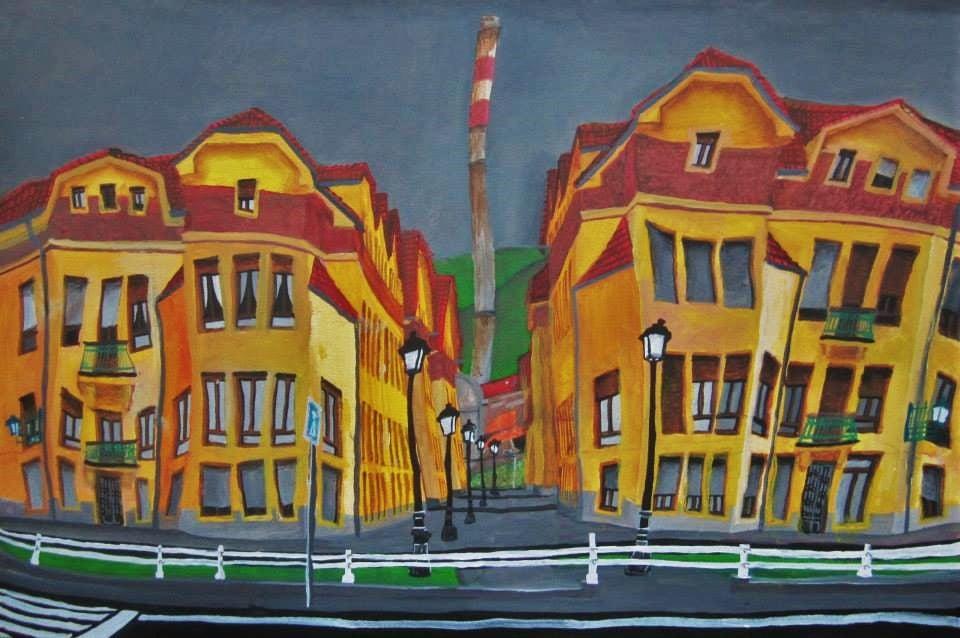 La Felguera, Llangréu. Barrio Urquijo. Acrílico y óleo sobre lienzo, 60 x 90 cm. 2014.