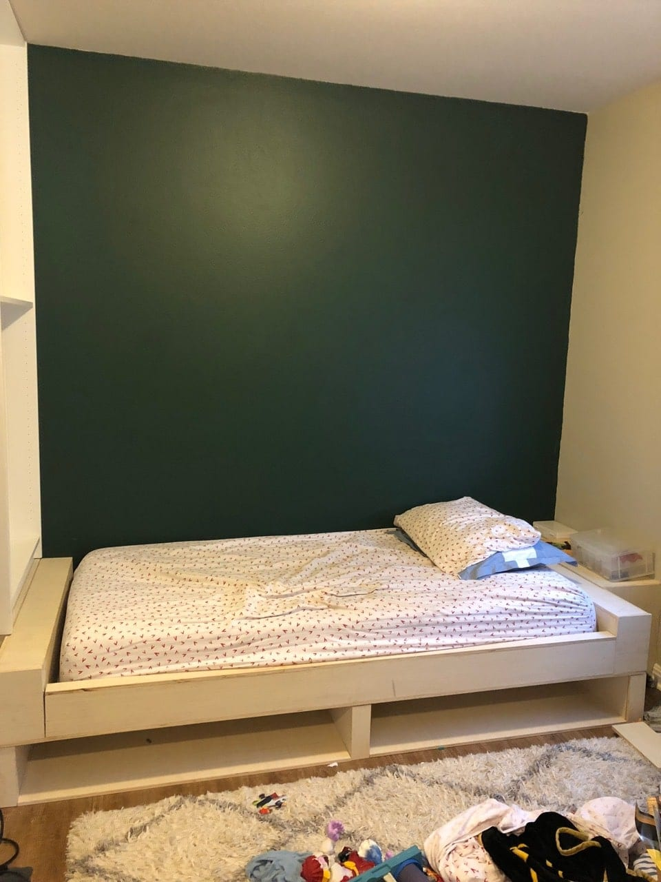 Unpainted built in bed with 1 bookcase installed