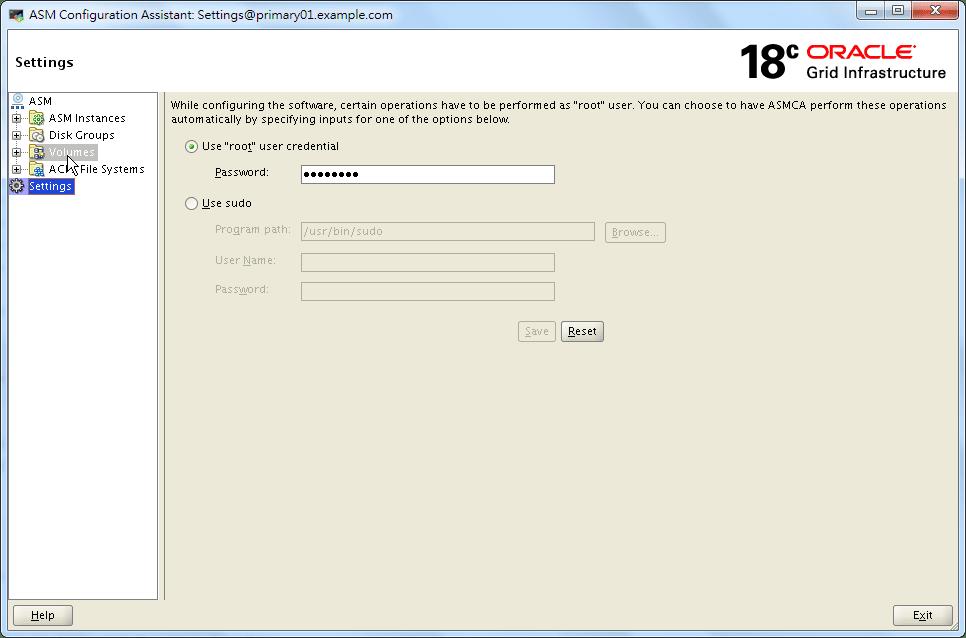 ASMCA 18c - root Credential Saved