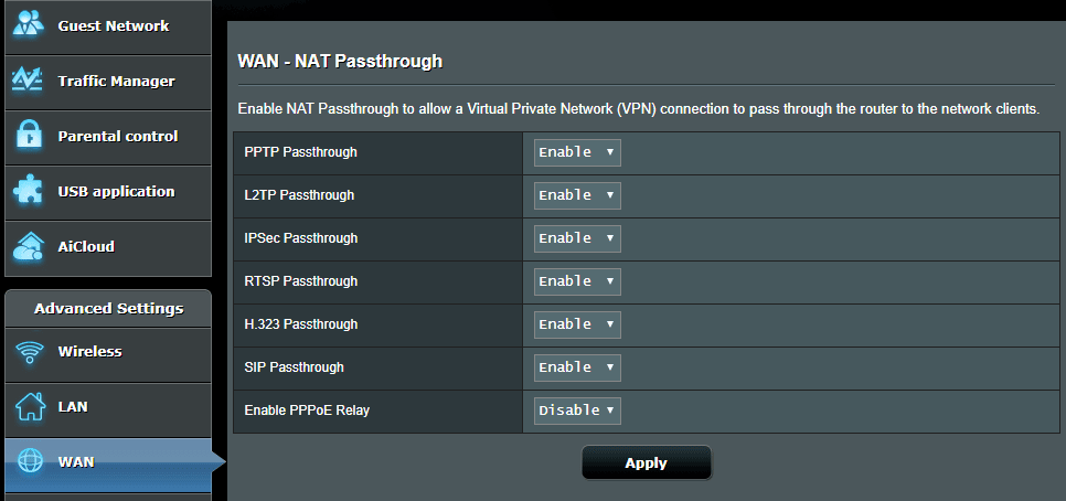 ASUSWRT VPN Passthrough