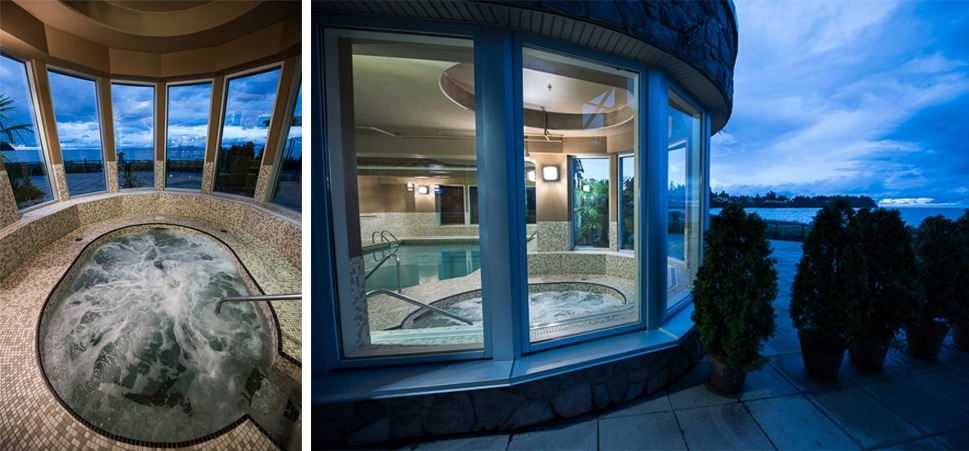 The Beach Club Resort in Parksville Spa with panoramic ocean view windows