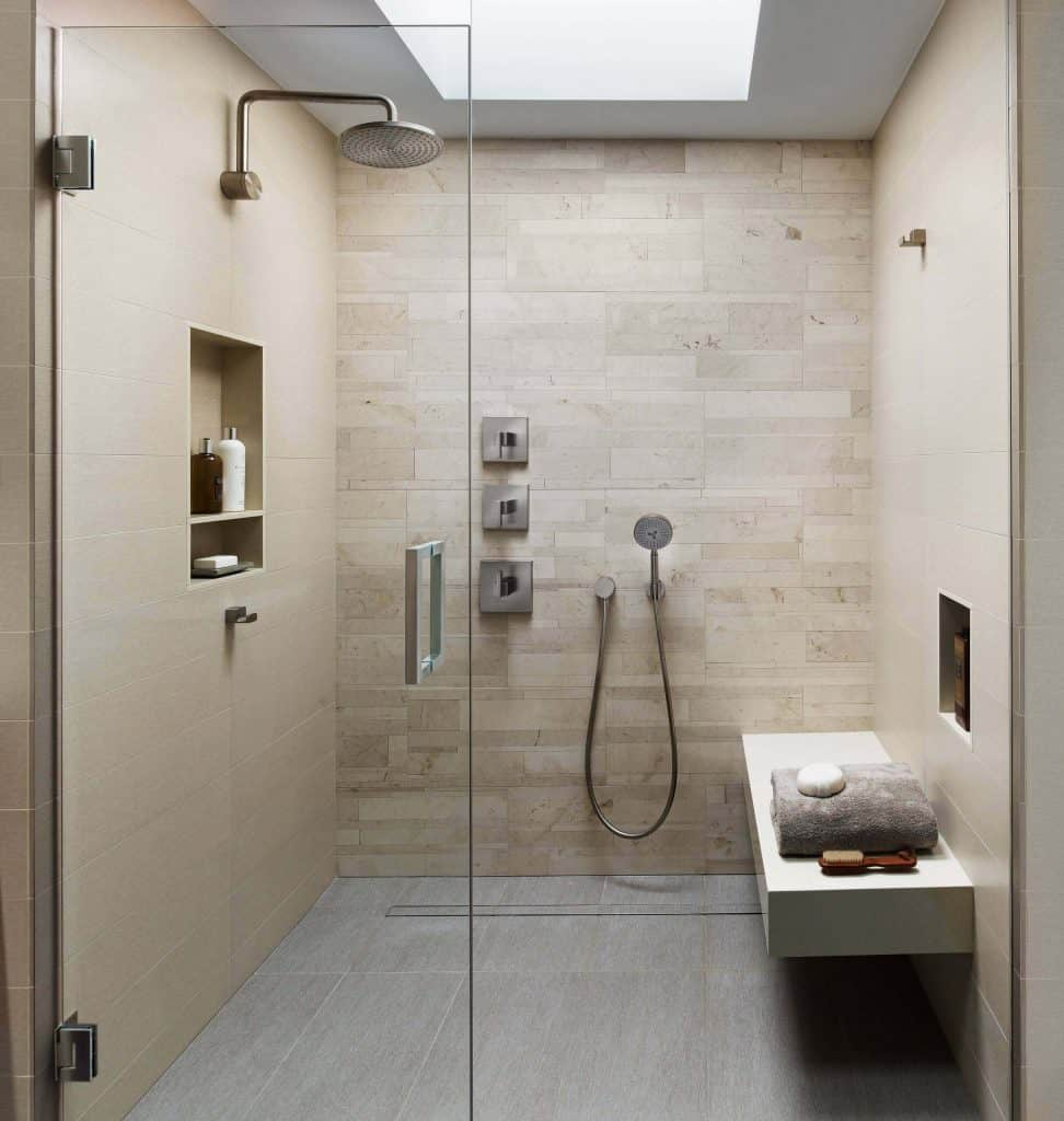 Tan Staggered shower tiles