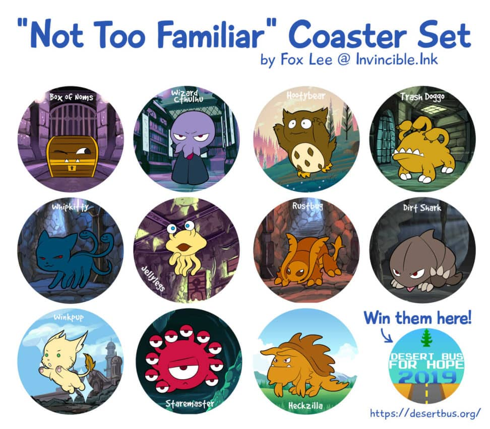 Desert Bus Prize - 'Not Too Familiar' D&D monster coasters
