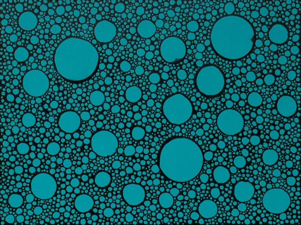 teal and black abstract bubbles