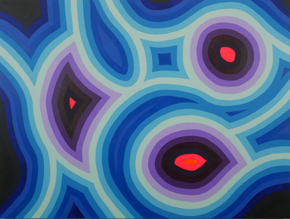 pink, purple and blue abstract painting
