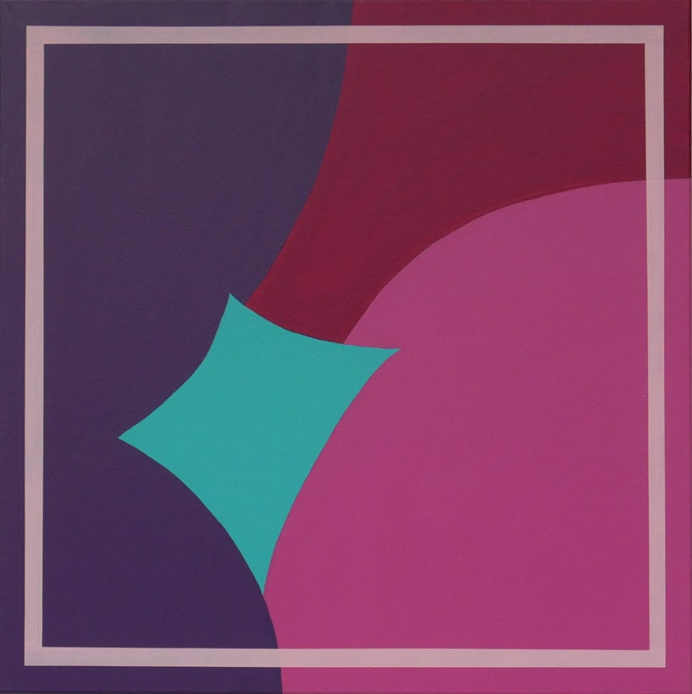 pink, red, teal and purple abstract painting