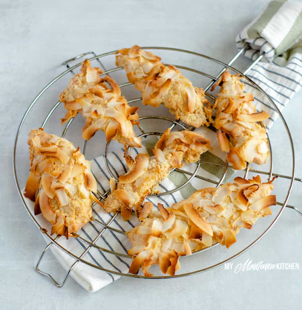coconut crusted chicken tenders on wire rack