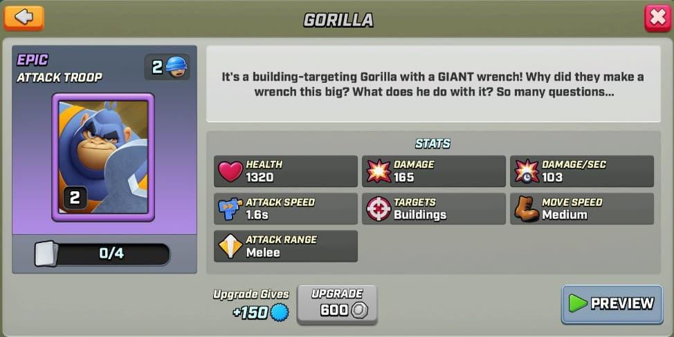 Stats du Gorilla level 2