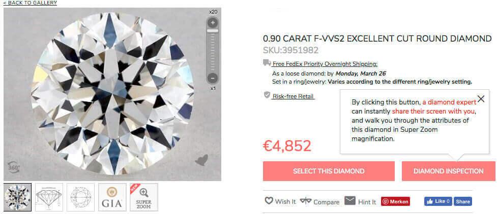 3. Beispiel Diamant rund 3x Excellent Cut 0.90ct F VVS2 Tiefe 63.8%
