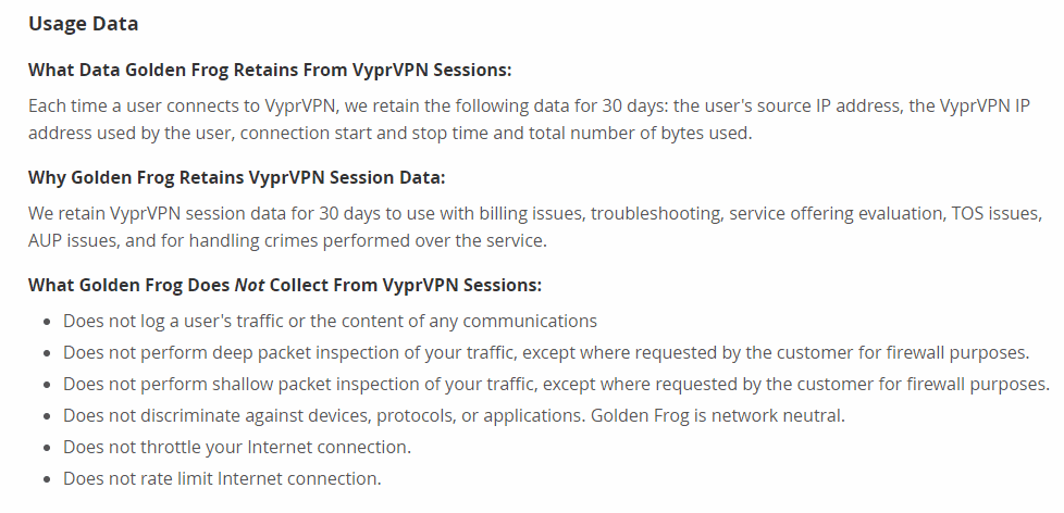 VyprVPN's logging policy from their privacy page