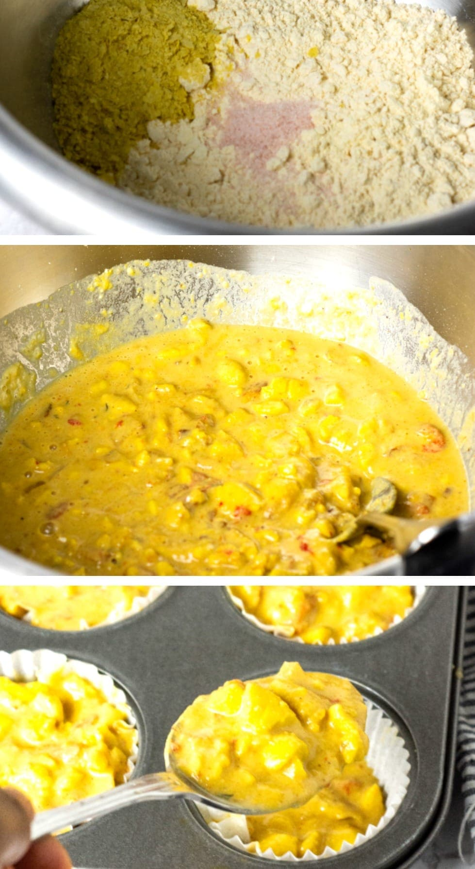 Step by step collage of vegan ackee quiche, with dry mix in the bowl, followed by added water and cooked