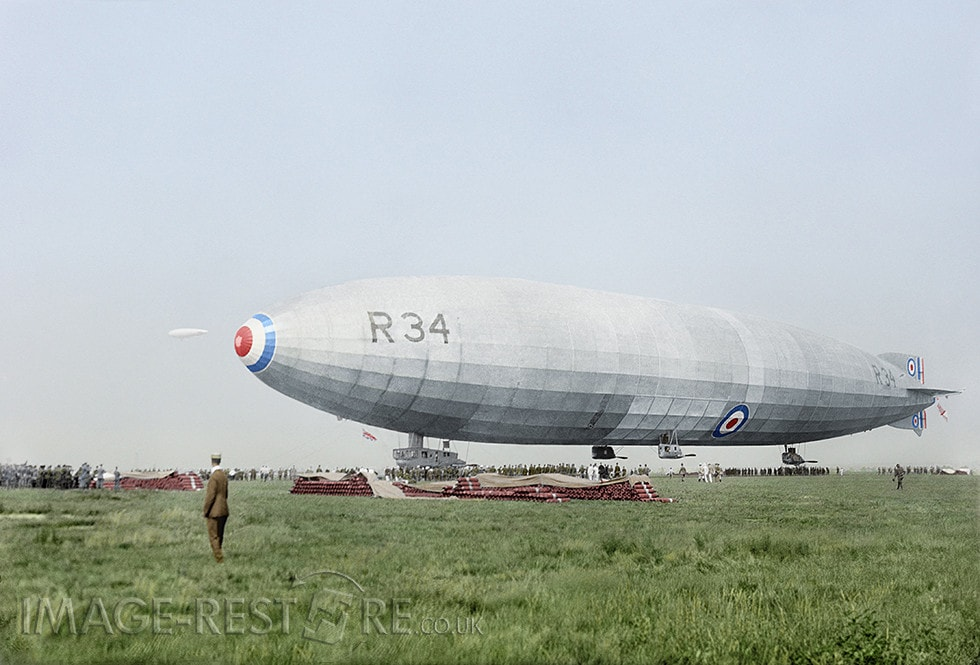 British airship R34 1919 - colourized