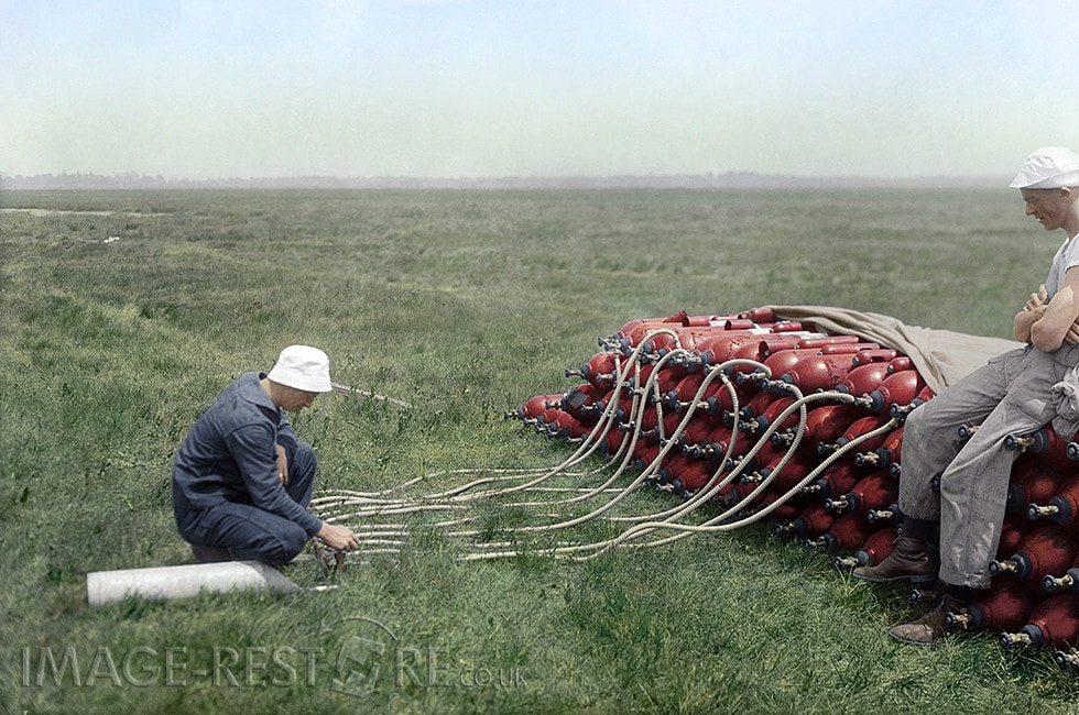Photograph shows hydrogen gas supplies for the British airship R34, at Roosevelt Field, near Mineola, Long Island - colourized image