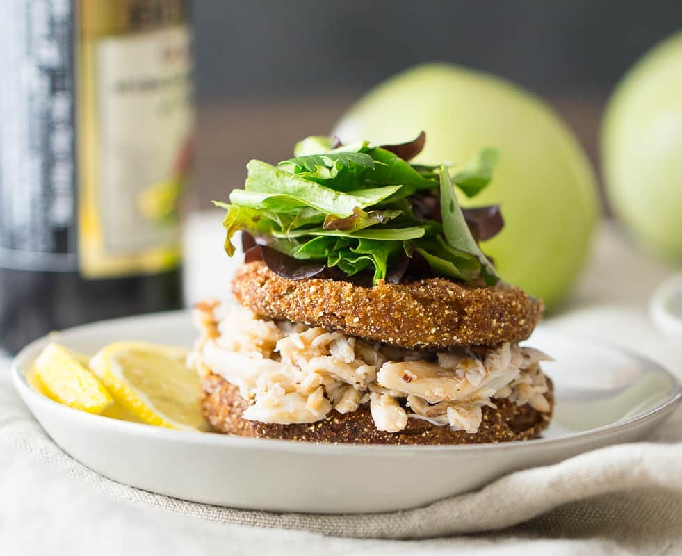 fried green tomatoes recipe with stack of crab