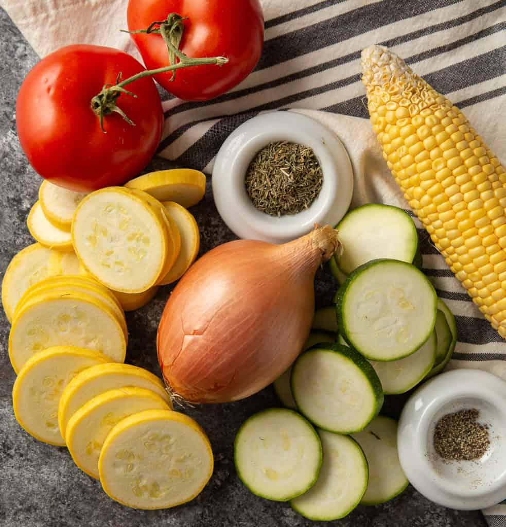 Summer vegetables for a vegetable side dish recipe