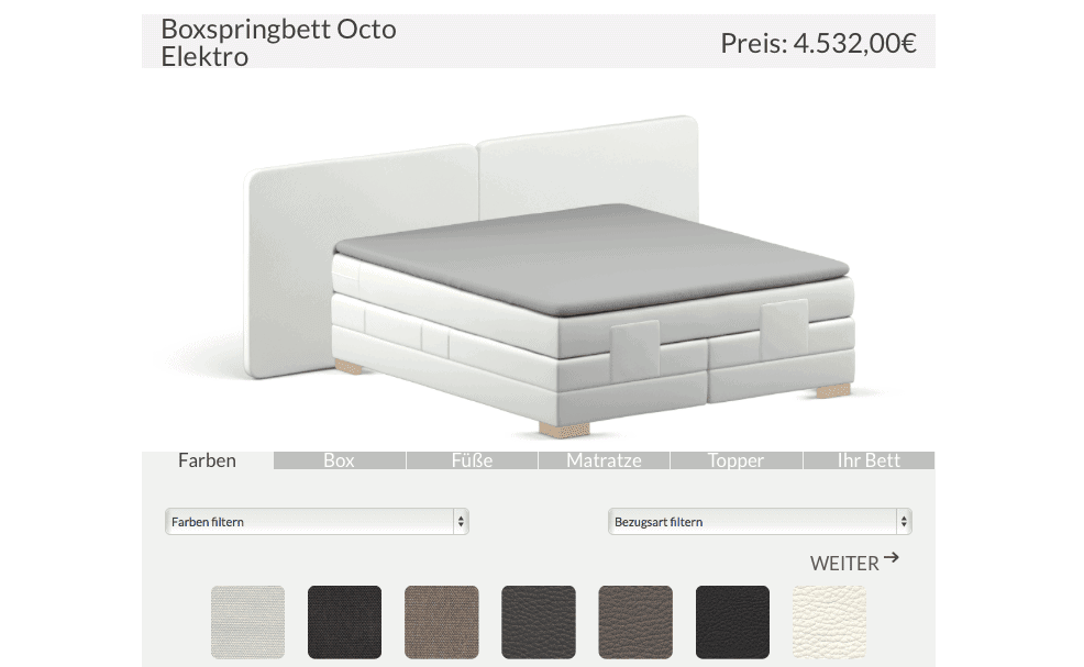3d-boxspringbetten-konfigurator - ObjectCode GmbH