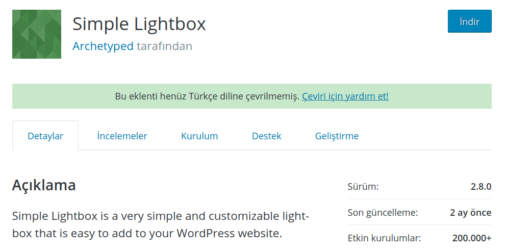 WordPress Resim – Simple Lightbox Eklentisi