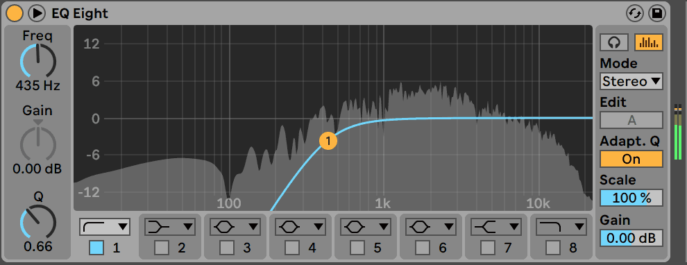 Ableton Live EQ Eight High-pass Filter
