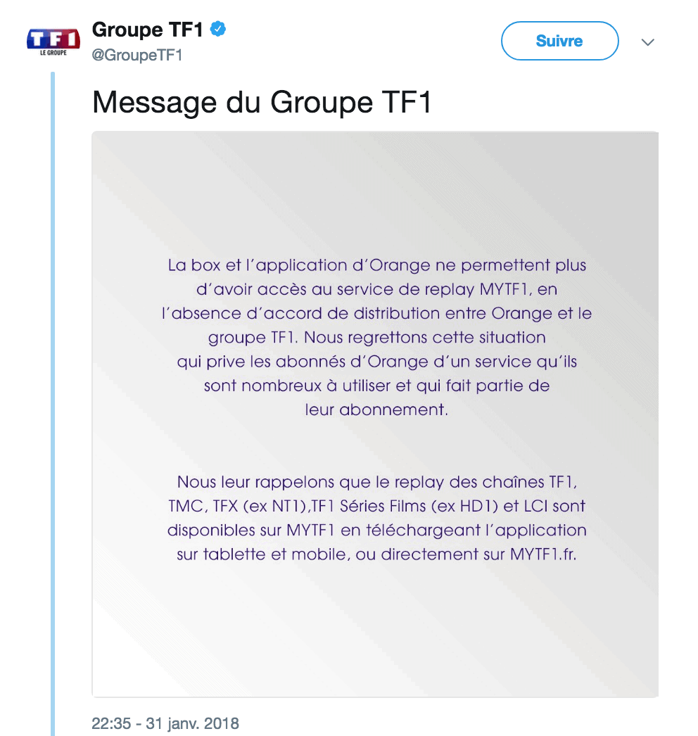 TF1 bloque TF1 en Replay