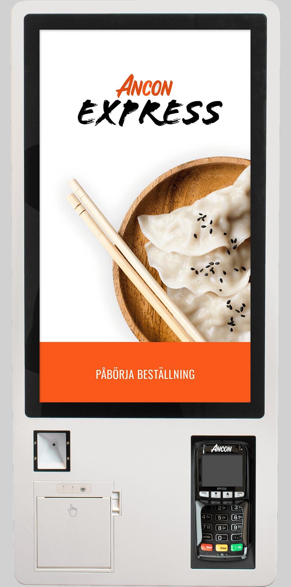 Kassasystem restaurang med självbetjäning och snygg hårdvara