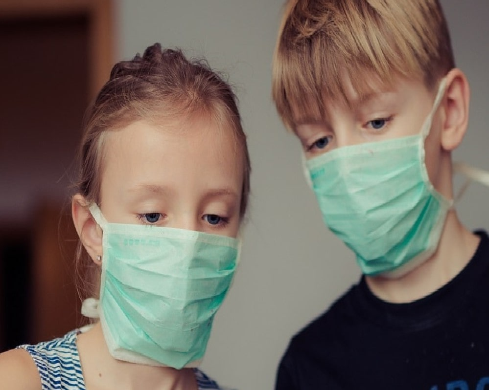 Canva - Two Children Wearing Surgical Masks