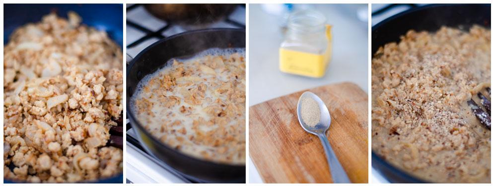 añadimos la leche de soja y las especias a la sartén.