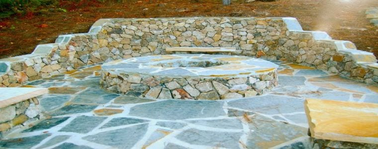 Natural Stone Fire Pit with Stone Benches and Stone Wall - NorCal Installation