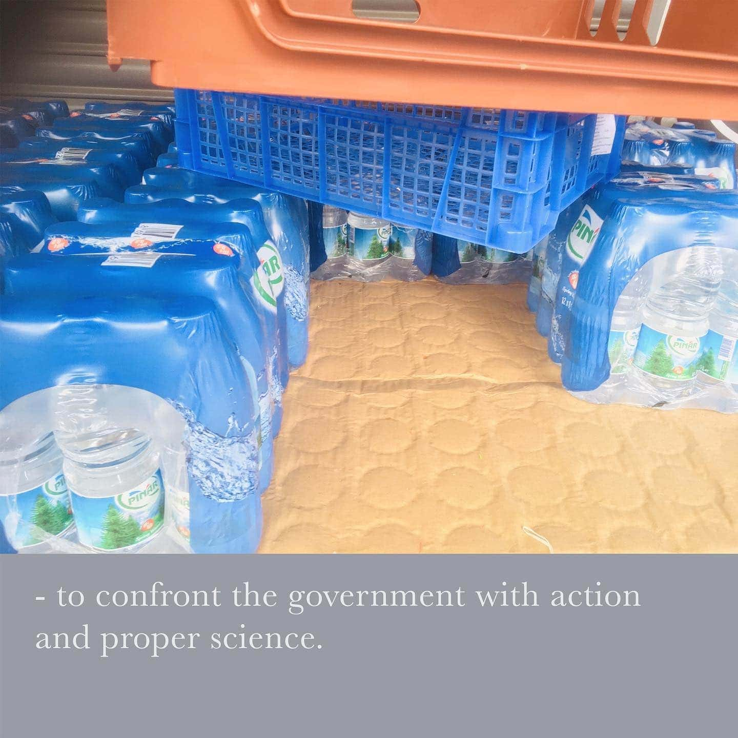 - to confront the government with action and proper science. . . . #contemporaryart #plasticcrates #artwork #art #text #textart #artistsoninstagram #waste #plastic #rubbish #detritus #action #advice #science #scientificadvice #government #confrontation Pierre d'Alancaisez, Dennis Goodwin