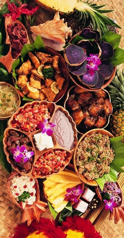 hawaiian food spread for catered event