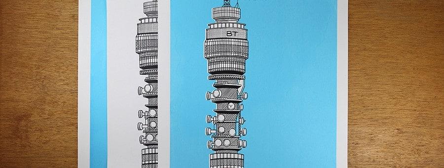 BT Tower A2 2 Colour Screen Print