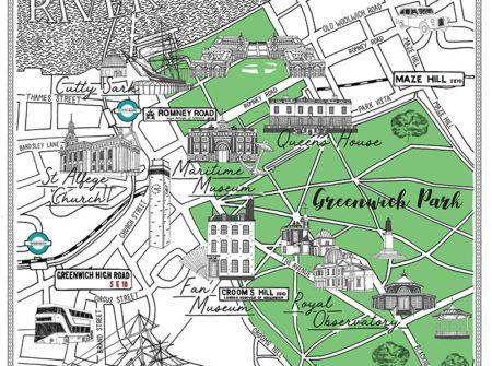 Royal Borough of Greenwich London Map Drawing