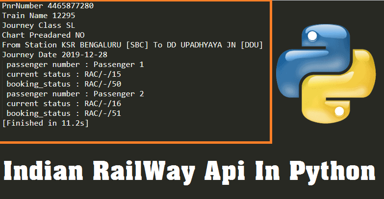 Indian railway API python