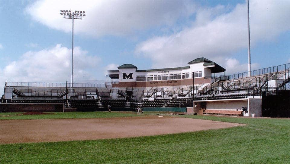 Taylor/Phi Delta Theta Baseball Stadium from Simmons Field at the University of Missouri-Columbia.