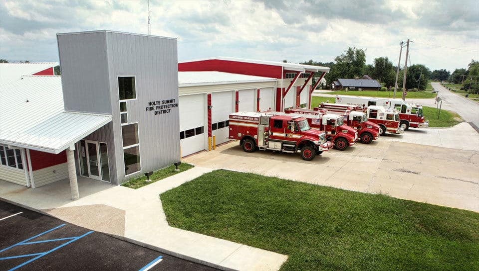 The expanded Holts Summit Fire Protection District building now encompasses 9,625 square feet with 6 apparatus bays.