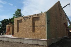 The structure and framing of the Eco Schoolhouse consists of a Structural Insulated Panel System (SIPS).