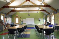 An interactive SMART Board, zero VOC paint and adhesives, custom cabinetry, an acoustical wall and ceiling treatment, and GREENGUARD® compliant furniture are just a few of the features that combine to create an ideal learning environment for students and teachers.
