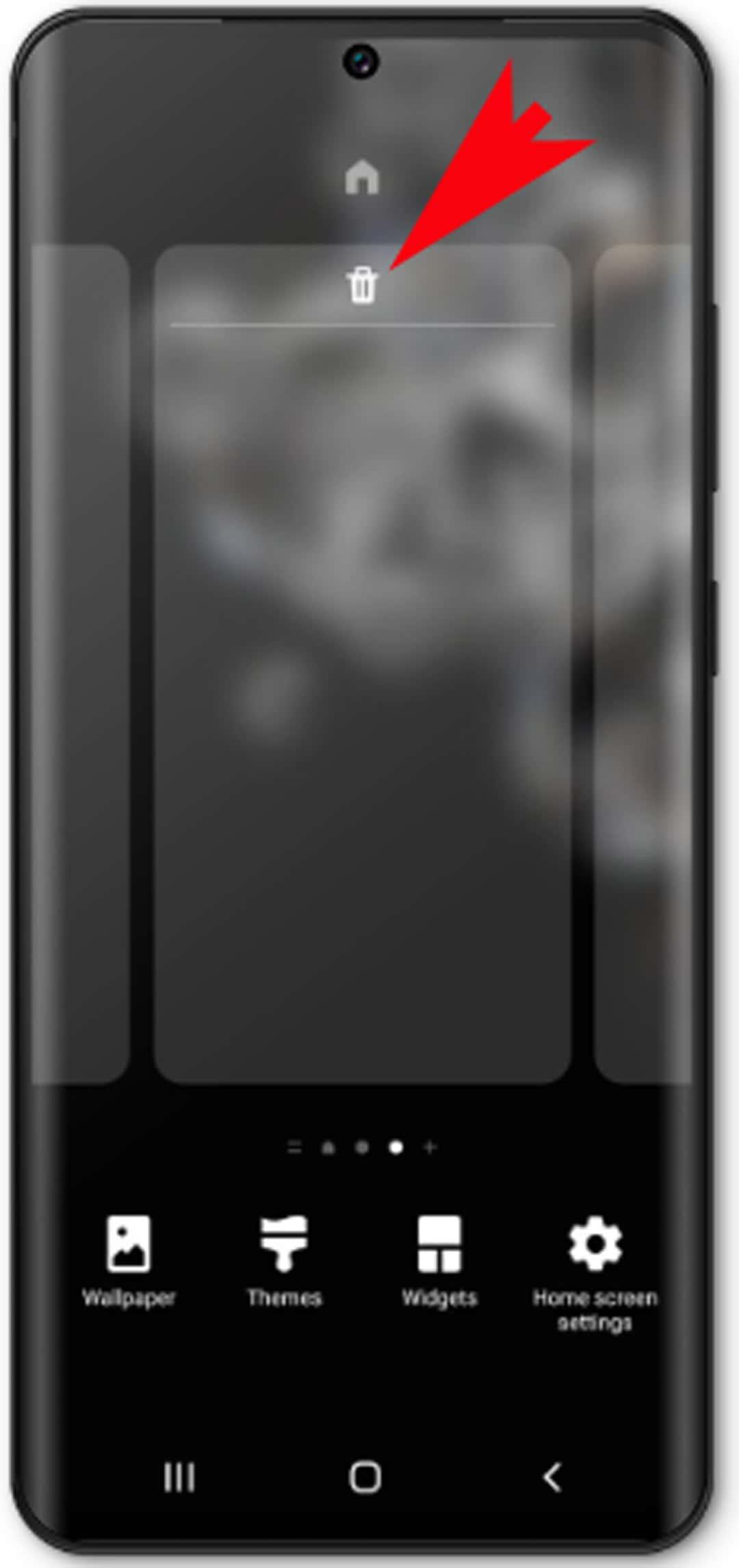 add and remove galaxy s20 home screens - delete icon panel