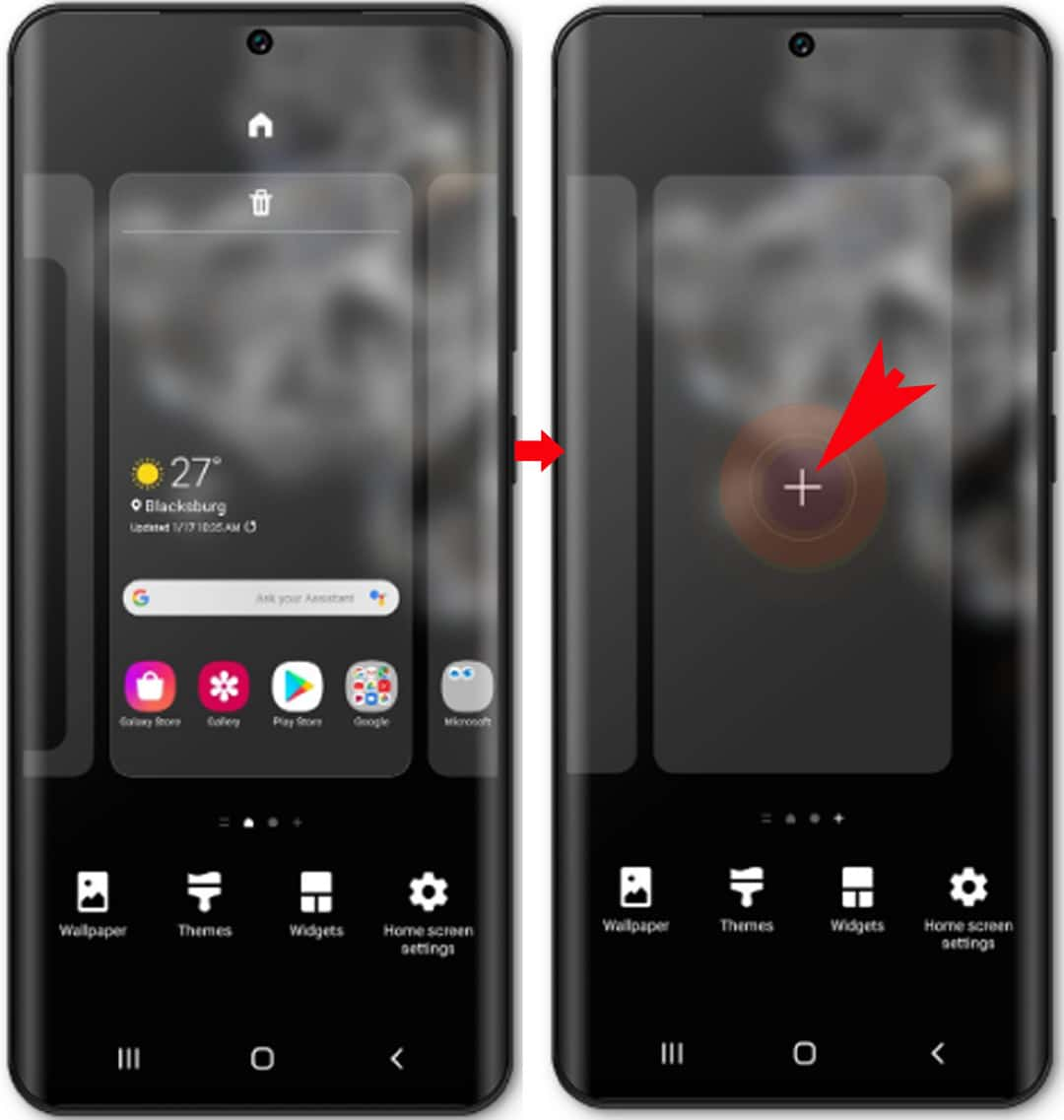 add and remove galaxy s20 home screens -plus sign panel