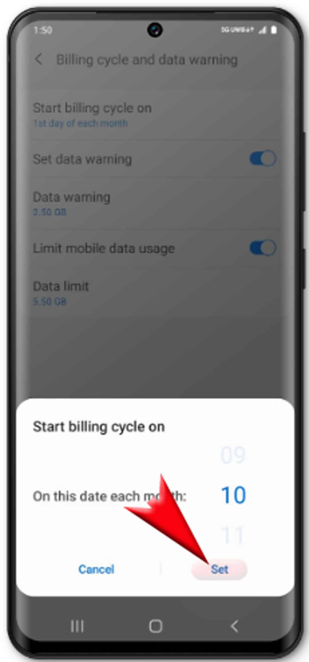 view and manage data usage on galaxy s20 - confirm new billing cycle