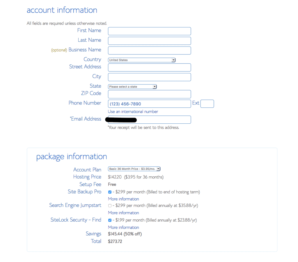 Account Info Bluehost