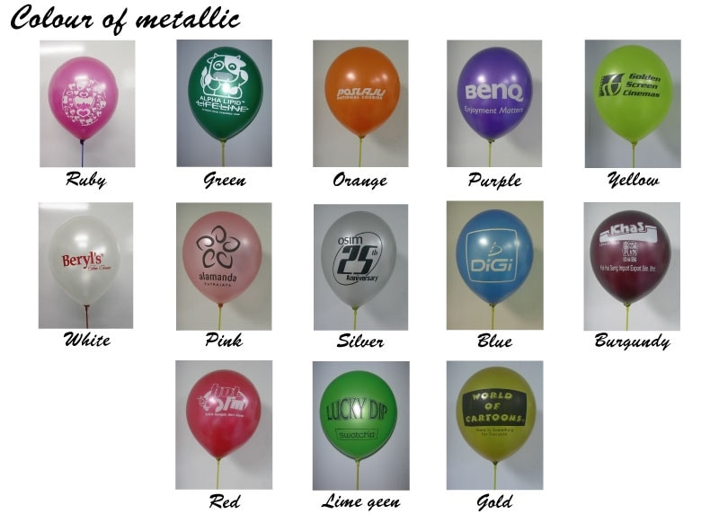 colours of metalic balloons