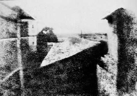 The oldest surviving photograph of the image formed in a camera –  View from the Window at Le Gras