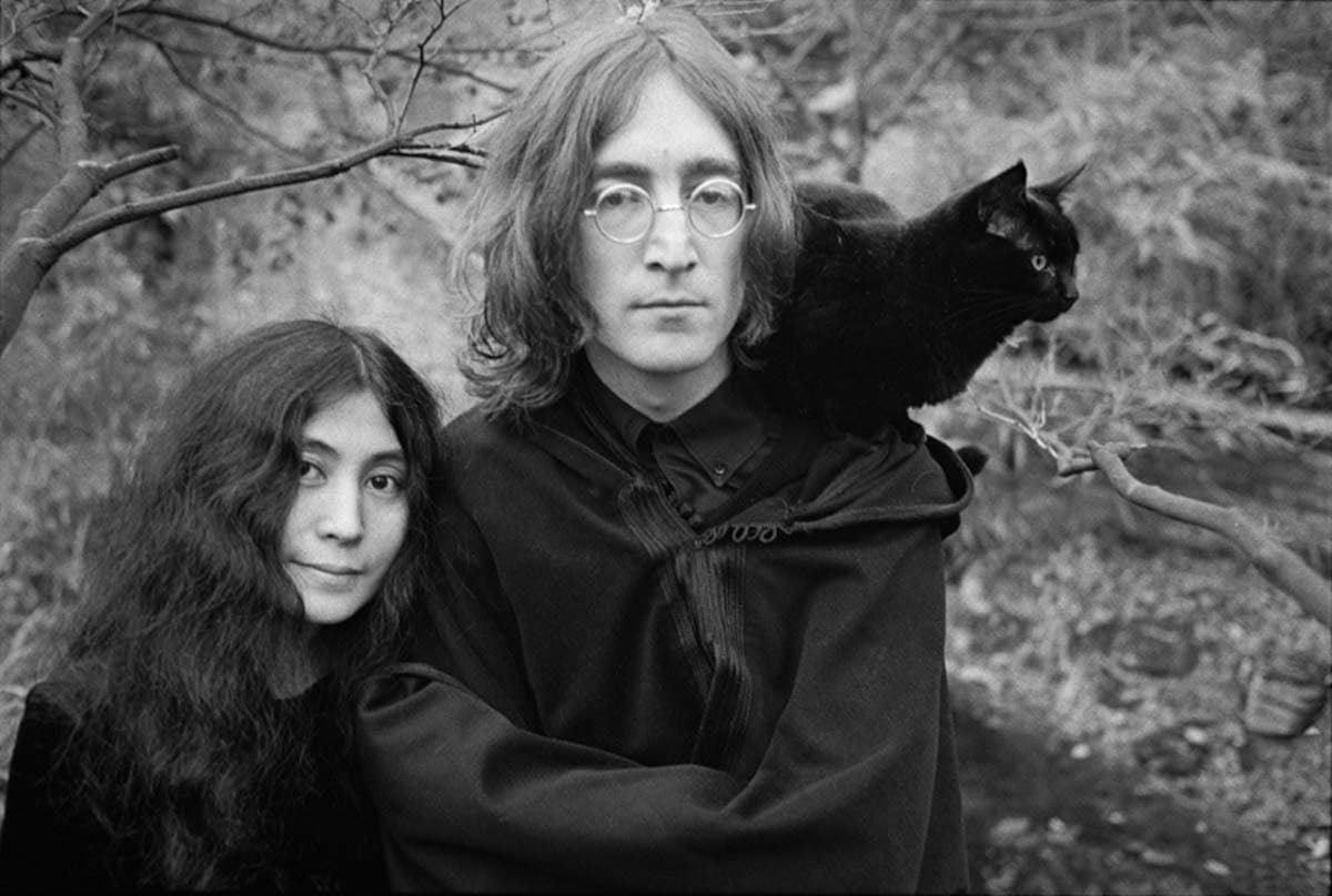 """John Lennon and Yoko Ono """"Cat"""" Photograph by Ethan Russell Copyright: ©Yoko Ono. All rights reserved. Used with permission"""