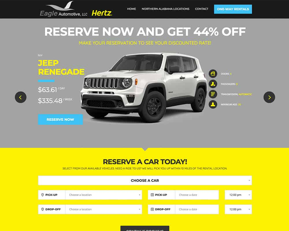 Eagle Automotive Hertz Rental Website