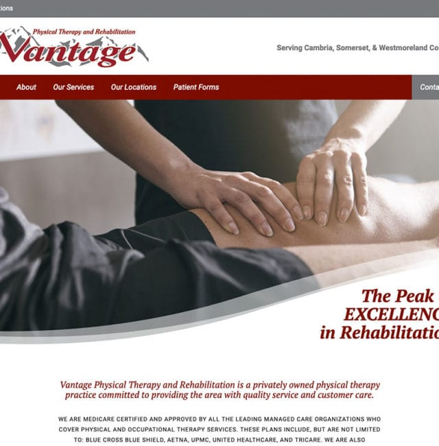 Vantage Physical Therapy & Rehabilitation Website