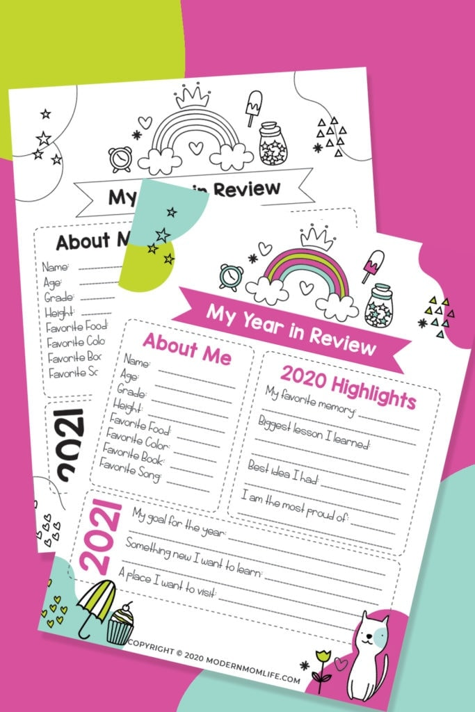 Year in Review Printable for Kids