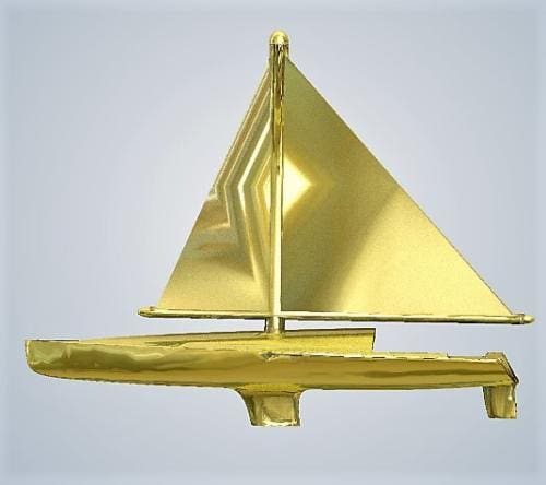 Sail Boat metal gold plated