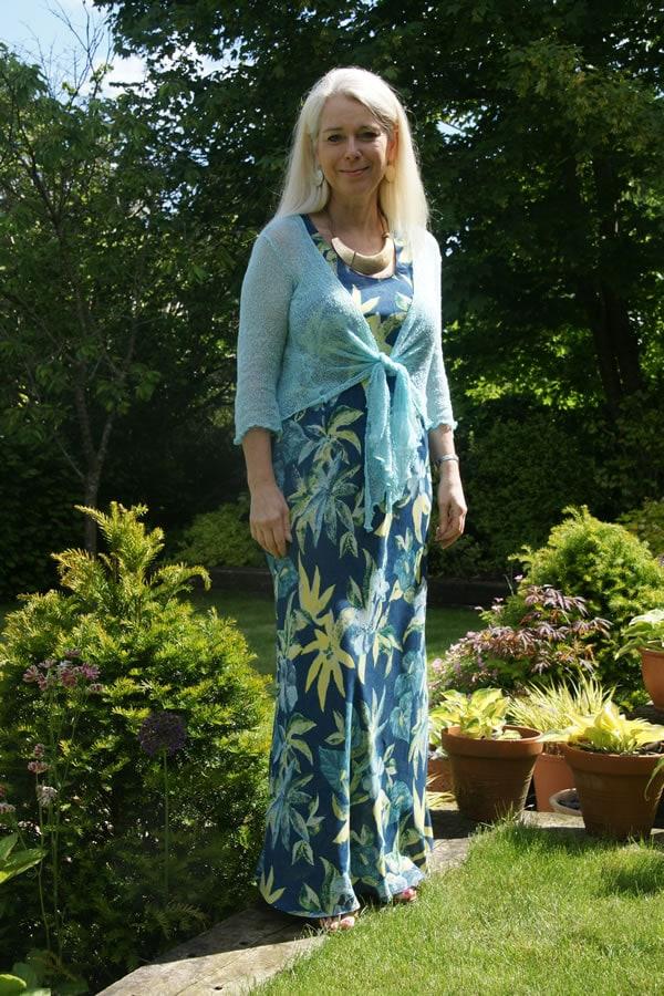 Lorraine looking fabulous in a blue flower maxi dress | 40plusstyle.com